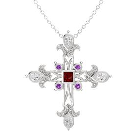 Princess Ruby Sterling Silver Pendant with White Sapphire and Amethyst