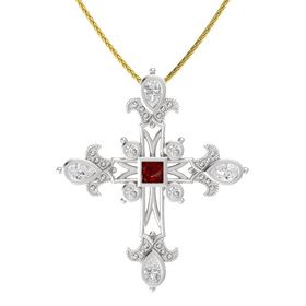 Princess Ruby Sterling Silver Pendant with White Sapphire