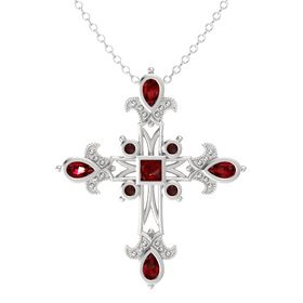 Princess Ruby Sterling Silver Pendant with Ruby and Red Garnet