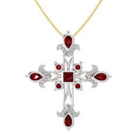Princess Ruby Sterling Silver Pendant with Ruby