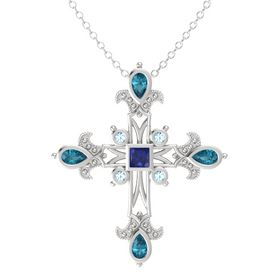 Princess Blue Sapphire Sterling Silver Pendant with London Blue Topaz and Aquamarine