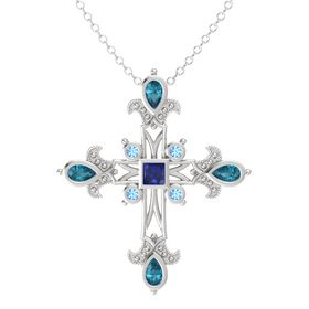 Princess Blue Sapphire Sterling Silver Pendant with London Blue Topaz and Blue Topaz