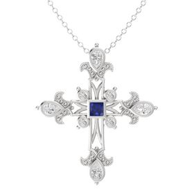 Princess Blue Sapphire Sterling Silver Pendant with White Sapphire