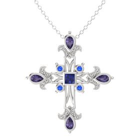 Princess Blue Sapphire Sterling Silver Pendant with Iolite and Blue Sapphire