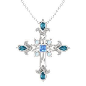 Princess Blue Topaz Sterling Silver Pendant with London Blue Topaz and Aquamarine