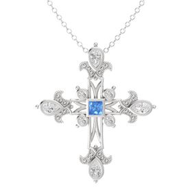 Princess Blue Topaz Sterling Silver Pendant with White Sapphire
