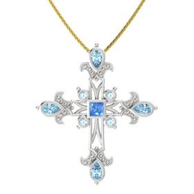 Princess Blue Topaz Sterling Silver Pendant with Aquamarine