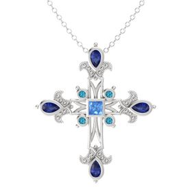 Princess Blue Topaz Sterling Silver Pendant with Blue Sapphire and London Blue Topaz