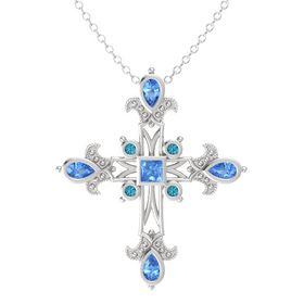 Princess Blue Topaz Sterling Silver Pendant with Blue Topaz and London Blue Topaz