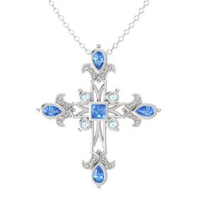 Princess Blue Topaz Sterling Silver Pendant with Blue Topaz and Aquamarine