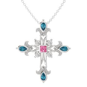 Princess Pink Tourmaline Sterling Silver Pendant with London Blue Topaz and White Sapphire