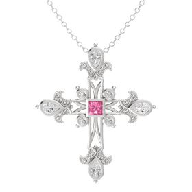 Princess Pink Tourmaline Sterling Silver Pendant with White Sapphire