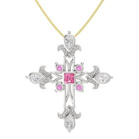 Princess Pink Tourmaline Sterling Silver Pendant with White Sapphire and Pink Sapphire