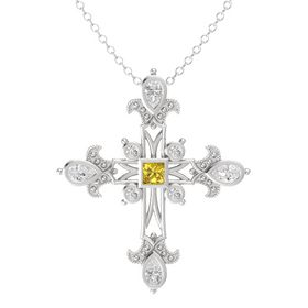 Princess Yellow Sapphire Sterling Silver Pendant with White Sapphire