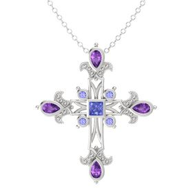 Princess Tanzanite Sterling Silver Pendant with Amethyst and Tanzanite