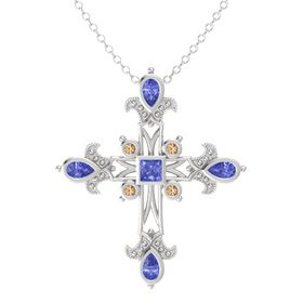Princess Tanzanite Sterling Silver Pendant with Tanzanite and Smoky Quartz