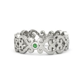 14K White Gold Ring with Emerald & Diamond