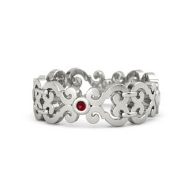 Platinum Ring with Ruby & White Sapphire