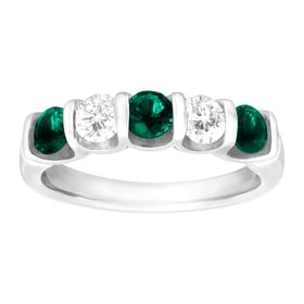 1 1/2 ct Emerald & White Sapphire Band Ring