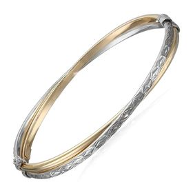 Two-Tone Crossover Bangle Bracelet