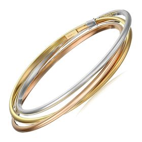 Three-Tone Interlocking Bangle Bracelets