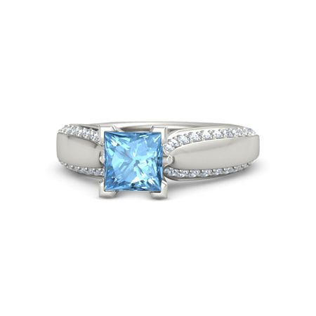 3c22973b5 Princess Blue Topaz 14K White Gold Ring with Blue Sapphire and ...
