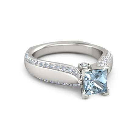 princess aquamarine sterling silver ring with