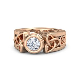 Round Diamond 14K Rose Gold Ring