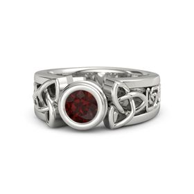 Round Red Garnet 14K White Gold Ring