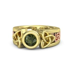 Round Green Tourmaline 14K Yellow Gold Ring