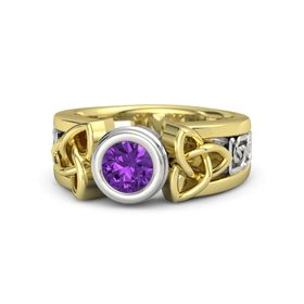 Round Amethyst 14K Yellow Gold Ring