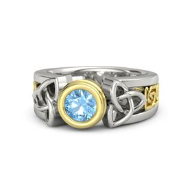 Round Blue Topaz Palladium Ring