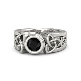 Round Black Onyx Platinum Ring