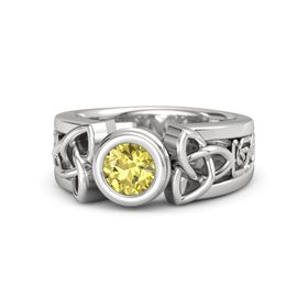 Round Yellow Sapphire Sterling Silver Ring