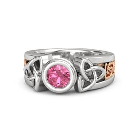 Round Pink Tourmaline Sterling Silver Ring