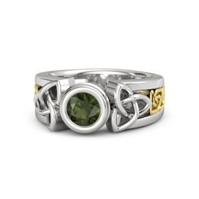 Round Green Tourmaline Sterling Silver Ring