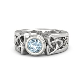 Round Aquamarine Sterling Silver Ring