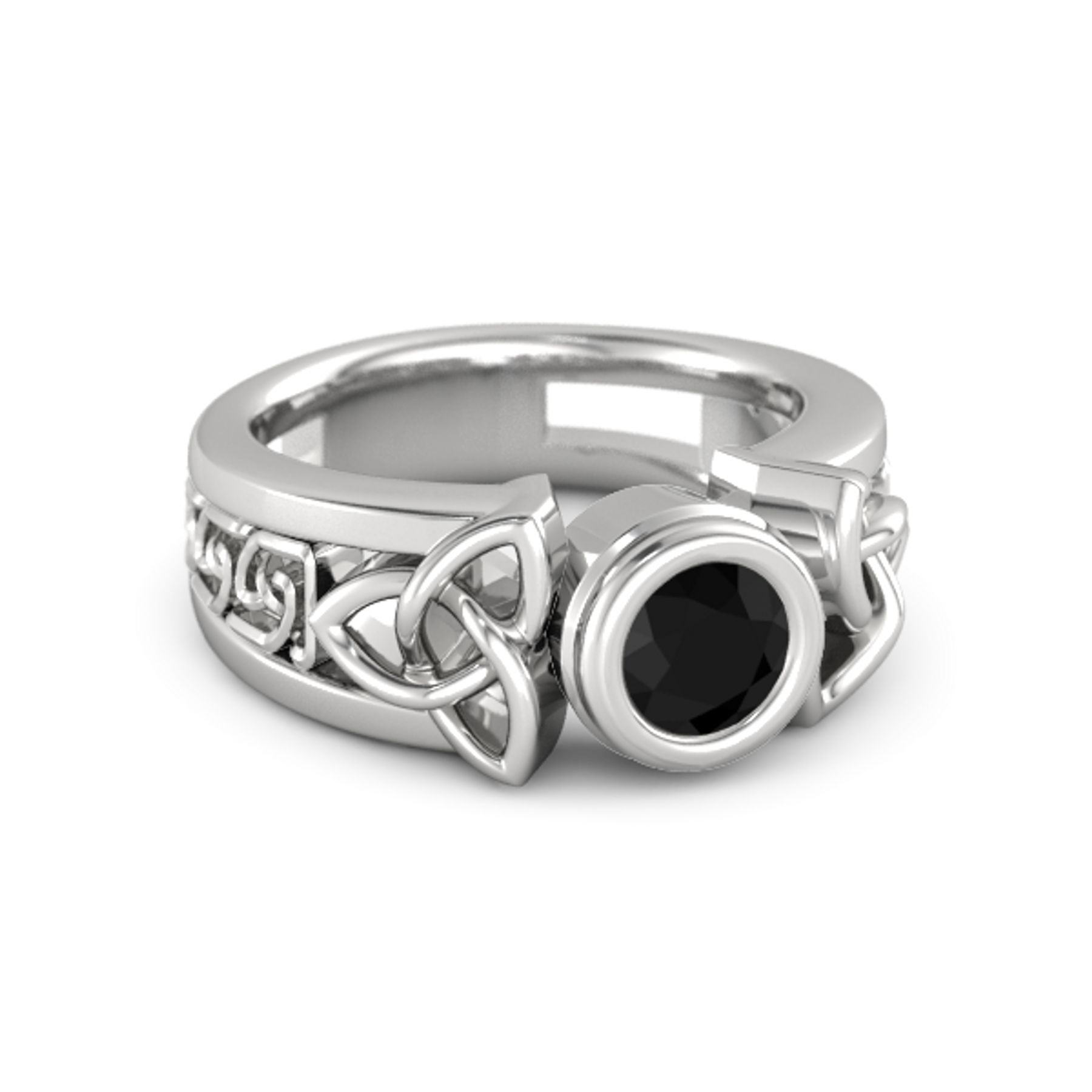 Celtic Sun Ring - Round Black Onyx Sterling Silver Ring
