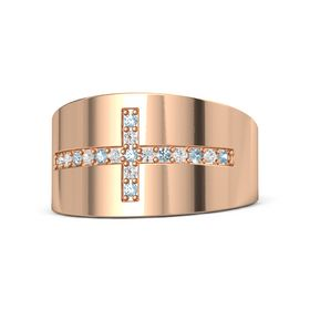 14K Rose Gold Ring with Aquamarine and White Sapphire