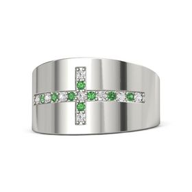 14K White Gold Ring with White Sapphire & Emerald