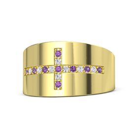 14K Yellow Gold Ring with Amethyst and White Sapphire