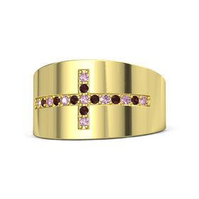 14K Yellow Gold Ring with Pink Sapphire and Red Garnet
