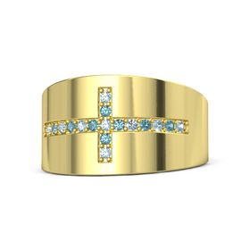 14K Yellow Gold Ring with Aquamarine & London Blue Topaz