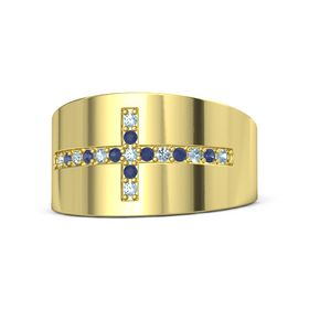 14K Yellow Gold Ring with Aquamarine and Blue Sapphire