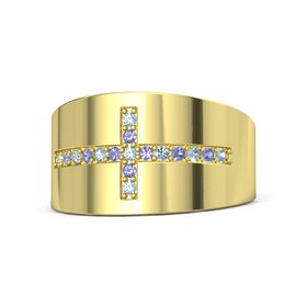 14K Yellow Gold Ring with Aquamarine and Iolite