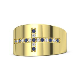 14K Yellow Gold Ring with Blue Sapphire and White Sapphire