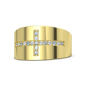14K Yellow Gold Ring with Blue Topaz and Diamond