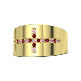 14K Yellow Gold Ring with Pink Tourmaline and Ruby