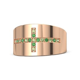 18K Rose Gold Ring with Peridot and Emerald