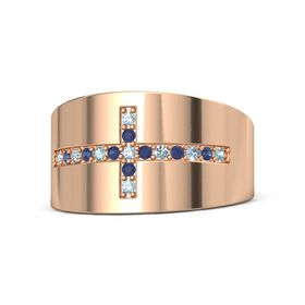 18K Rose Gold Ring with Aquamarine and Blue Sapphire